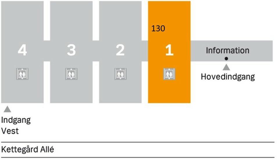 Billedet viser center 1 i Ambulatorieetagen på et kort.