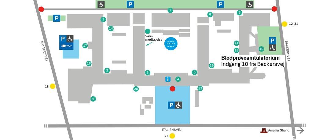 Illustrationen viser indgang 10 fra Backersvej til blodprøveambulatorium