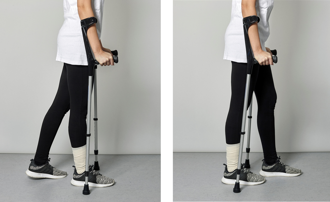 Picture of a person using the crutches