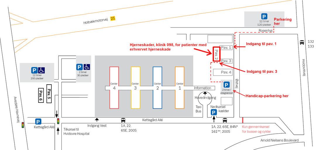 Kort over Hvidovre Hospital, samt hvor pavillon 2 kan findes.