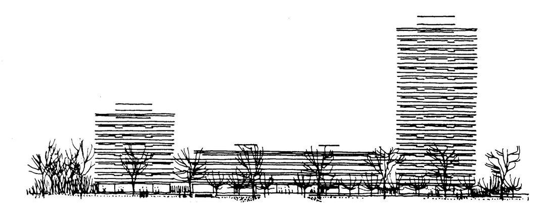 Tegning af Rigshospitalet
