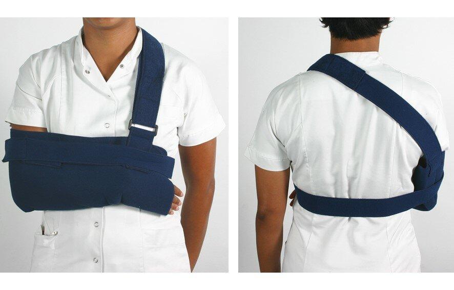 To billeder af en bandage på armen set forfra og bagfra