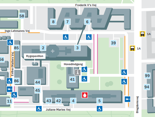 Kort over Rigshospitalet Blegdamsvej