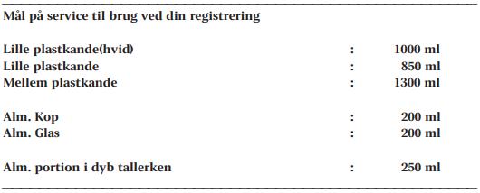 Oversigt over målene på forskellig service, der kan bruges i registreringen af kost.