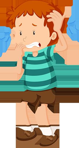 Illustration af dreng, der er bekymret