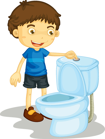 Illustration af dreng, der står ved et toilet og skyller ud