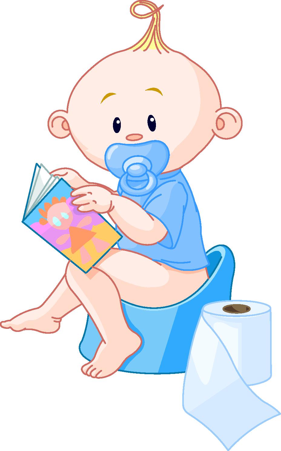 Illustration af baby siddende på potte