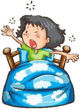 Illustration af en pige i en seng, der har svært ved at sove