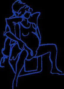 Tegning af fødende siddende