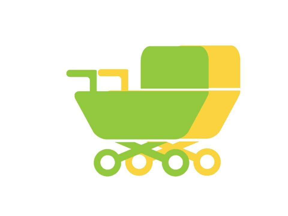 Illustration af en grøn-gul barnevogn