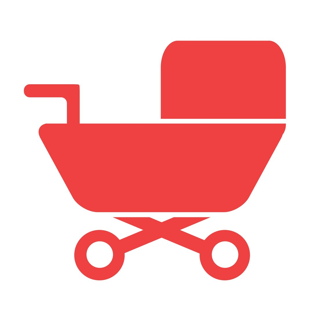 Illustration of a red baby carriage