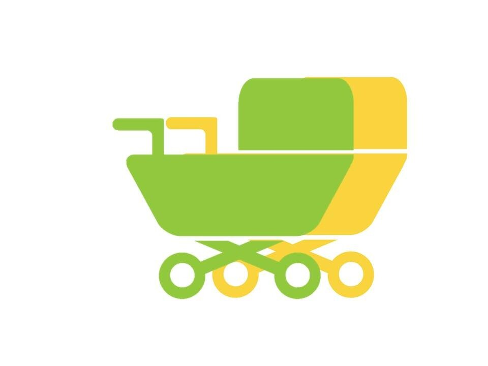 Illustration of a green and a yellow baby carriage