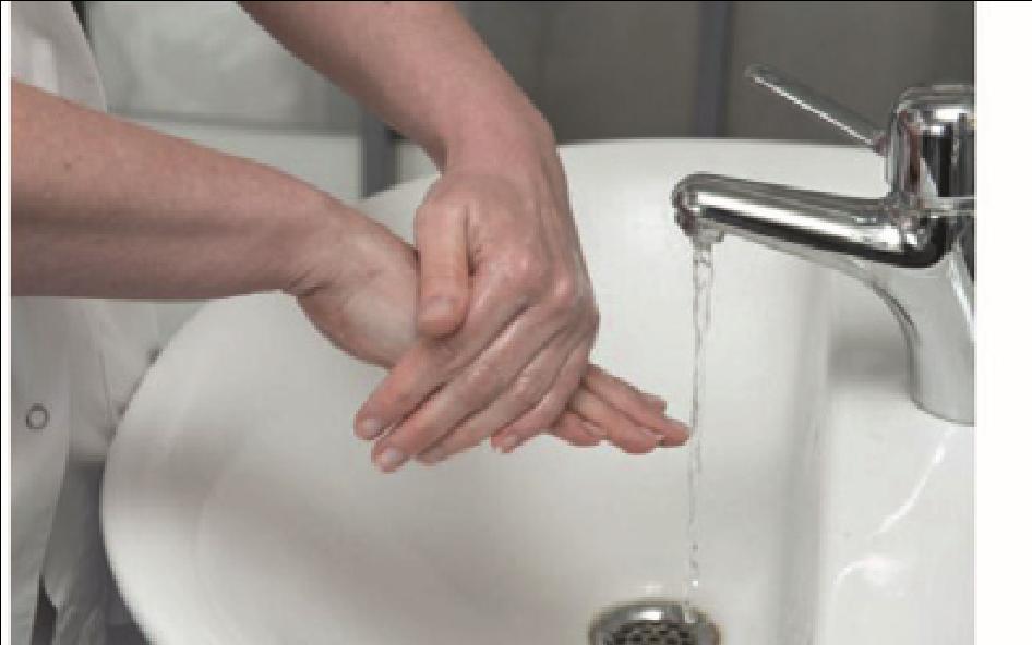Sygeplejerske vasker sin håndryg