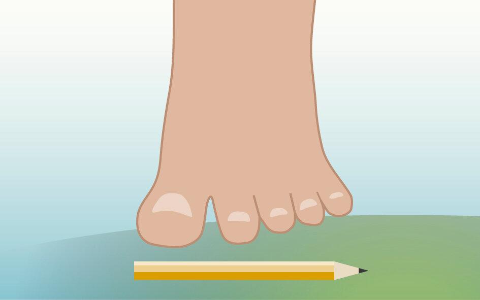 Illustration viser fod der skal forsøge at samle en blyant op.