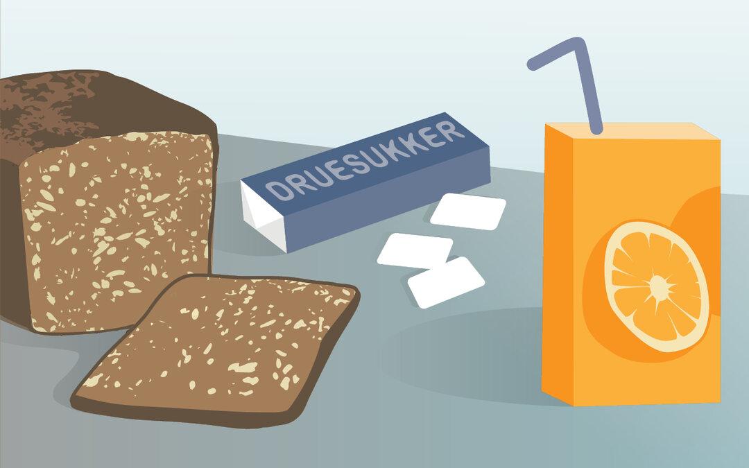 Illustration viser juice, druesukker og rugbrød